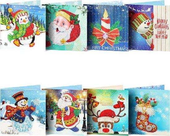 Afbeelding van 8 Diamond Painting Kerstkaarten - 15x15cm - Christmas kaarten met enveloppen - Diamond painting complete set speelgoed