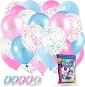 Fissaly® 60 Stuks Gender Reveal Baby Shower Ballonnen - Decoratie Boy or Girl Party - Feestpakket Versiering – Geslachtsbepaling Jongen & Meisje – Zwangerschap Aankondiging