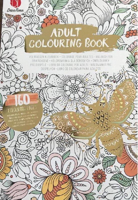 Afbeelding van Kleurboek Voor Volwassenen 'bij' Goud 160 Kleurplaten – Dieren Bloemen Bij - Adult Colouring