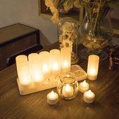 LED Kaarsen Oplaadbaar - 12 Oplaadbare LED Theelichtjes - Flikkerende LED Waxinelichtjes