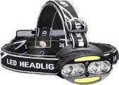 Krachtige LED Hoofdlamp met aan/uit-sensor en 4 Lampen| 3500 Lumen | 800 Meter Bereik | Waterbestendig | USB-Oplaadbaar INCLUSIEF batterijen