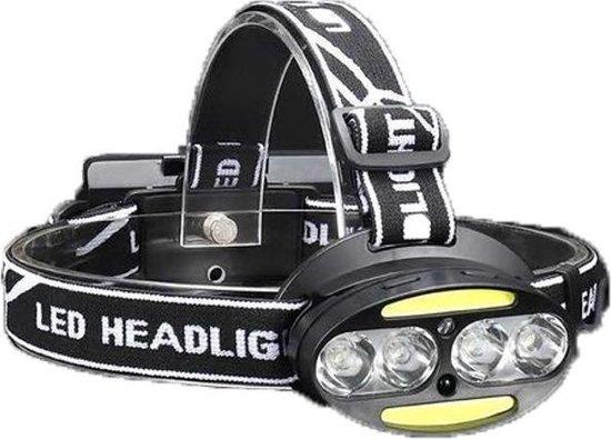 Krachtige LED Hoofdlamp met aan/uit-sensor en 4 Lampen  3500 Lumen   800 Meter Bereik   Waterbestendig   USB-Oplaadbaar INCLUSIEF batterijen