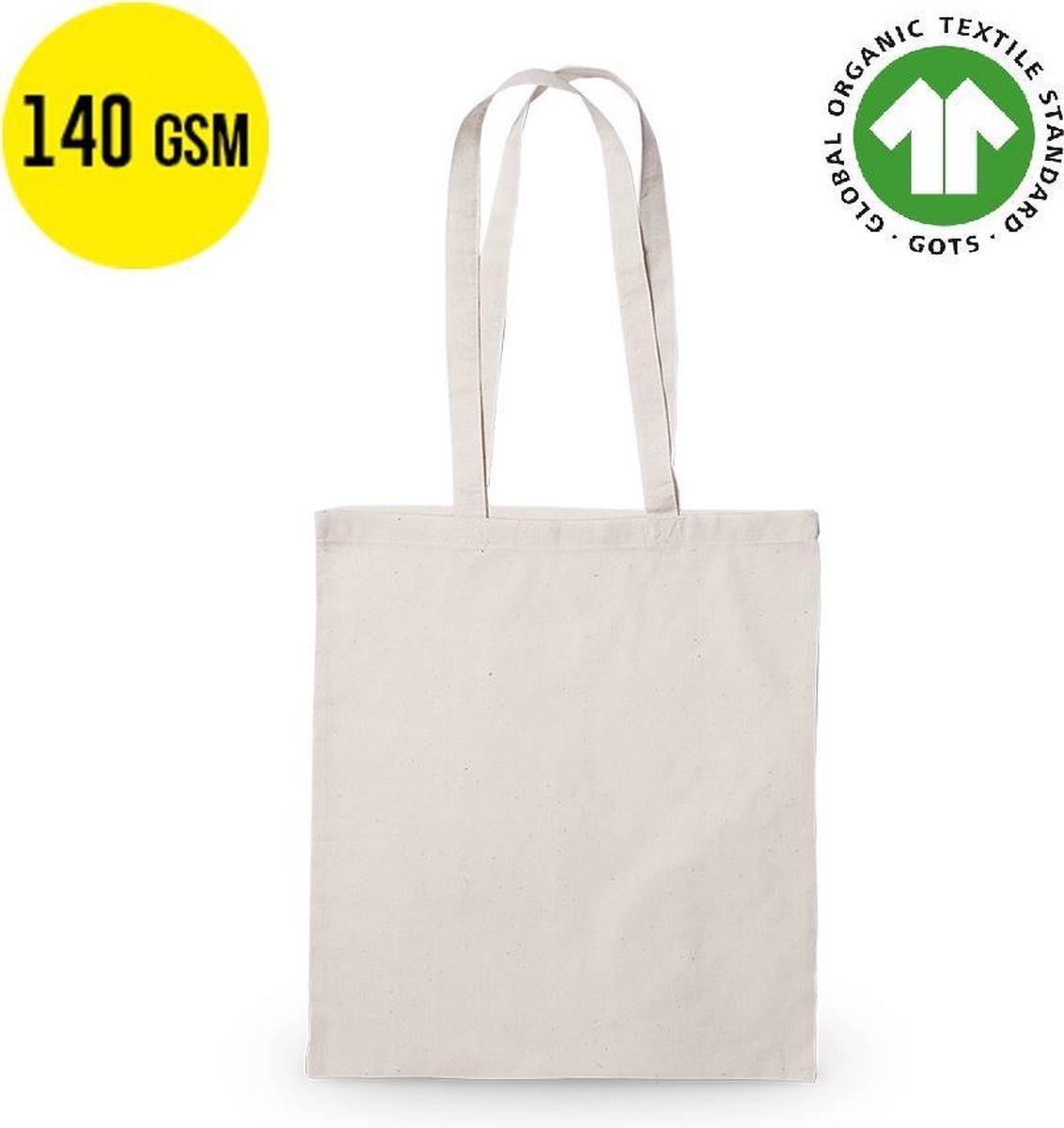 10 stuks Ecologische Katoenen Tassen Shopper 37x41cm - 140 grams - 100% biologisch katoen - met heng