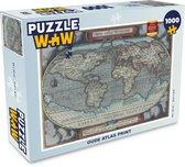 Puzzel 1000 stukjes volwassenen Oude wereldkaart 1000 stukjes - Oude atlas print  - PuzzleWow heeft +100000 puzzels