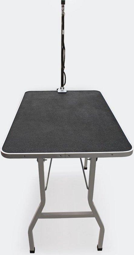 Honden Trimtafel met enkele aanlijnoptie, 760 mm hoog, Inklapbaar; Kniptafel - Wastafel met lus zwart / grijs - Verzorgingstafel voor huisdieren - Multistrobe
