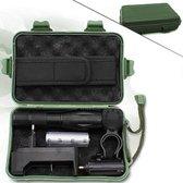Ultra Krachtige Militaire LED Zaklamp incl. Handig Tactical Opbergdoosje - 1000 Lumen - Oplaadbaar - Zwart