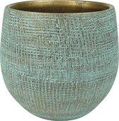 Plantenwinkel Pot Ryan shiny blue ronde bloempot binnen 18 cm