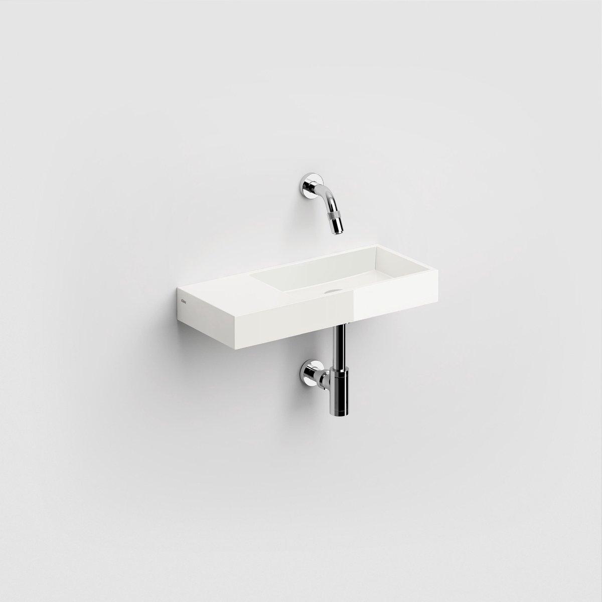 Clou Mini Wash Me fontein met voorbewerkt kraangat links mineral marmer B45xH6xD19cm