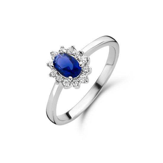 New Bling 9NB 0536-60 Zilveren Ring Dames - Zirkonia -  Entourage - Blauw - Wit - Maat 60 - Zilverkleurig