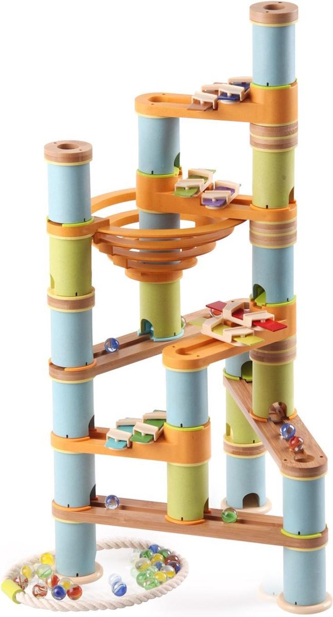 LOEF - educatieve muzikale knikkerbaan - duurzaam speelgoed - bamboe eco+ - marble mania