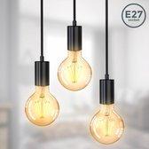 B.K.Licht - Hanglamp - zwart - retro - vintage - hanglamp eetkamer - woonkamer - 3-flame - verschillende hoogtes - Ø210x1200mm - Excl. E27
