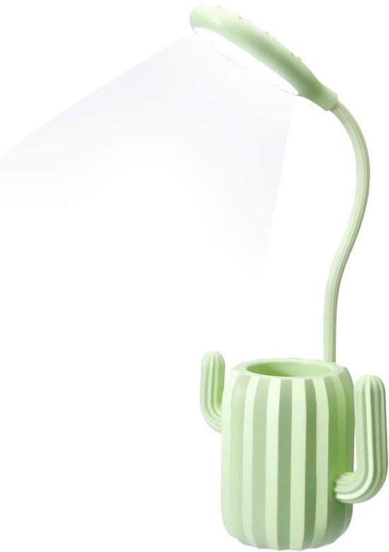 Led bureaulamp Lonely green cactus, bedlampje met USB oplaadbaar dimbare leeslamp met 3 helderheid niveaus, met touch-schakelaar en penhouder