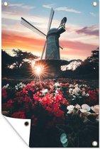 Bloemenveld voor een windmolen bij zonsondergang tuinposter los doek 80x120 cm - Tuindoek / Buitencanvas / Schilderijen voor buiten (tuin decoratie)