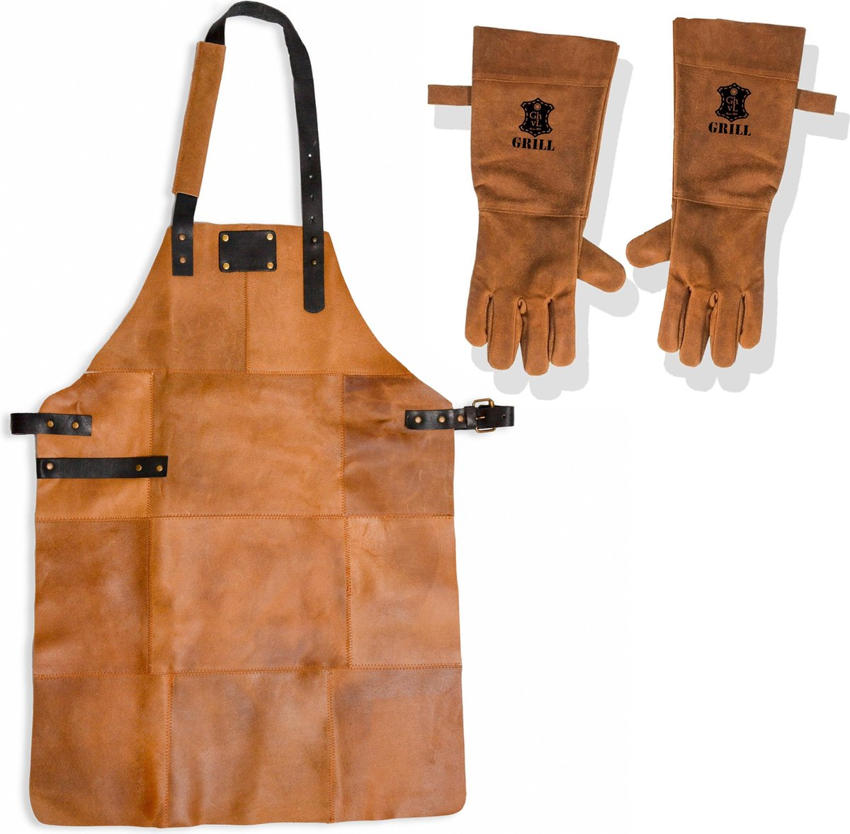 Leren Schort met Handschoenen - Licht Bruin   Soepel Leer - Barbecueschort - Keukenschort Man   81 x