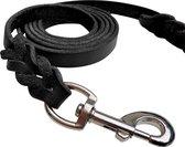 Honden riem - 220cm – Zwarte riem - gevlochten leren hondenriem – 100% volnerfleer - hond