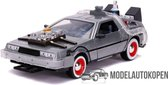 Back To The Future Delorean Part III + verlichting (Grijs) 1/24 Jada - Modelauto - Schaalmodel - Model auto - Miniatuurautos - Miniatuur auto