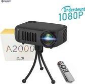 Mini Beamer 1080P HD met statief en ingebouwde speakers - Compact en draagbare projector - LCD projector - Thuis bioscoop - Videoprojector -  Ideaal voor Netflix en Videoland
