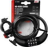 No-Ride Combi Fietsslot Kabelslot Cijferslot 10mm x 100cm zwart incl. Framehouder