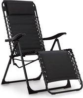 Blumfeldt California Dreaming ligstoel, bekleed, stalen frame, ergonomisch gevormde ligstoel met zachte bekleding en armleuningen, zwart
