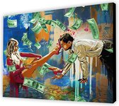 Wolf of Wallstreet / Vrouw Hakken / Money / Geld - Canvas Poster 100x70 (Excl rand gemeten)  ''Mirror-Edge'' rand voor gekleurde zijkant / hoge kwaliteit
