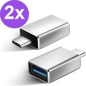 Set van 2 USB-C naar USB-A adapter OTG Converter USB 3.0 - USB C to USB A HUB - Verloop - Zilver