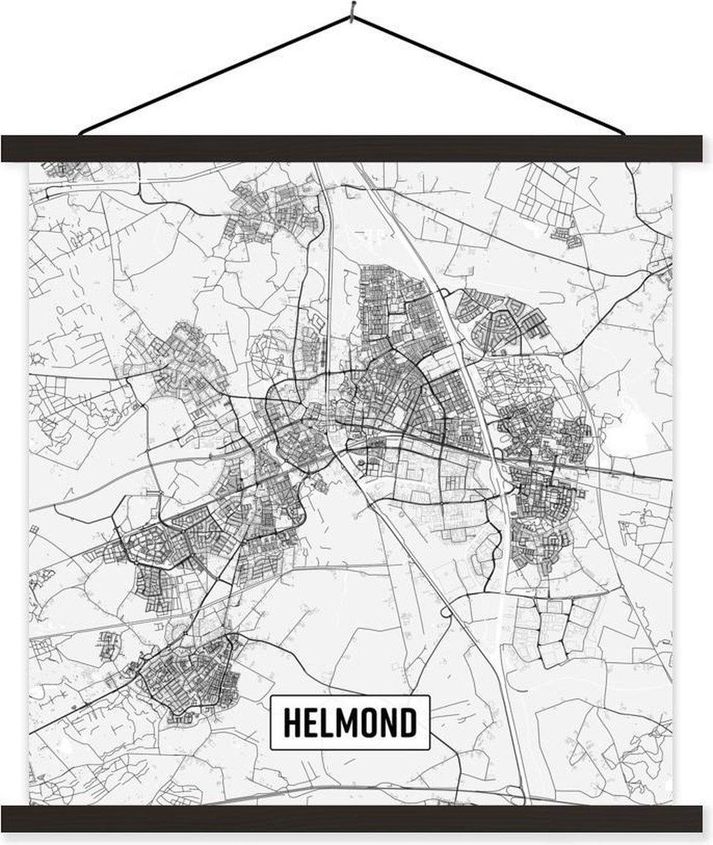 Stadskaart Helmond textielposter latten zwart - Plattegrond 90x90 cm - Foto print op schoolplaat (wanddecoratie woonkamer/slaapkamer)