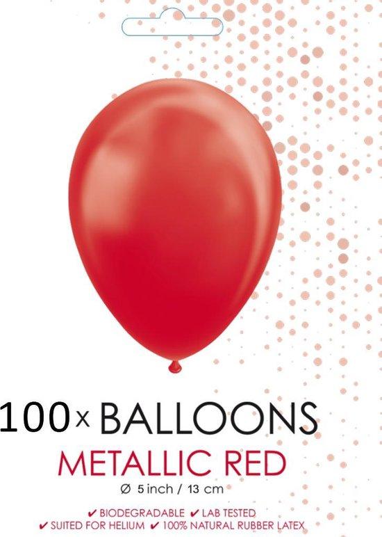 100 Kleine ballonnen metallic rood.