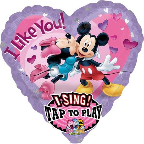 Folieballon - I Like You - Mickey & Minnie - Met muziek - 74cm - Zonder vulling