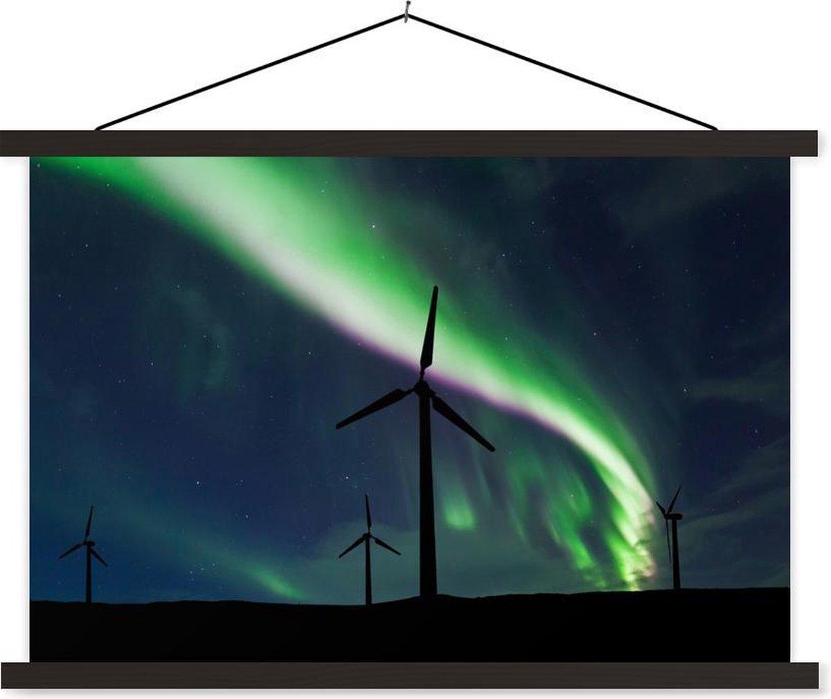 Noorderlicht boven de windturbines textielposter latten zwart 90x60 cm - Foto print op schoolplaat (wanddecoratie woonkamer/slaapkamer)