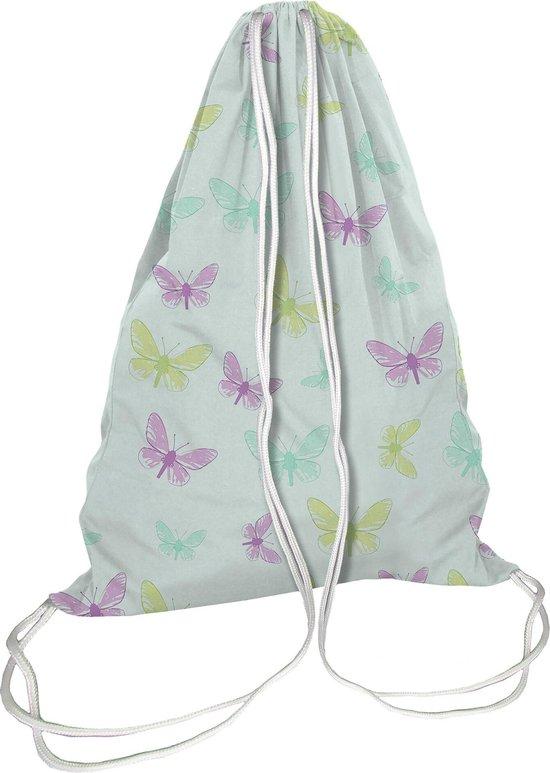 Waszak rugzakje - Jersey cotton - Vlinders- 30x40 cm