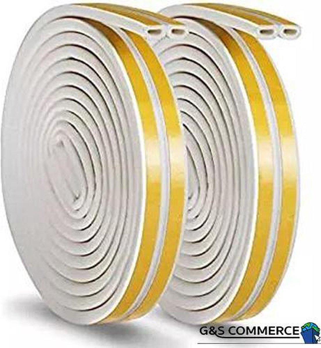 G&S Commerce Tochtband Wit - 6 METER - Tochtstrips voor Deuren - Anti tocht - NL & BE - Energie zuinige oplossing - Isolatie - tochtwering