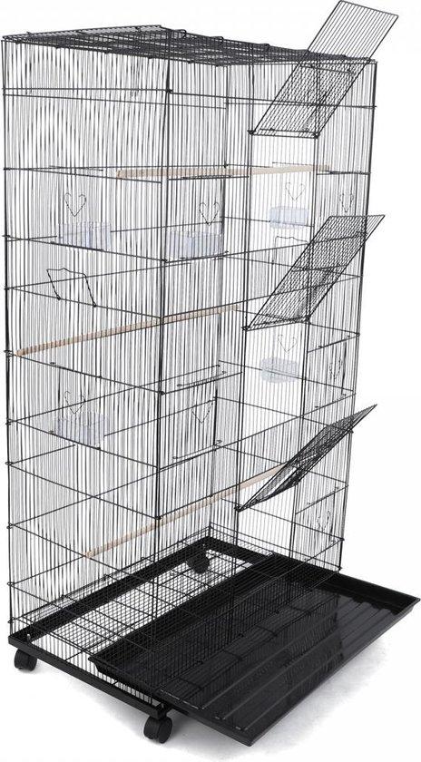 Lowander volière metaal 140x78x48 - verrijbare vogelkooi / vogelhok voor binnen en buiten - incl. zitstokken en voerbakken