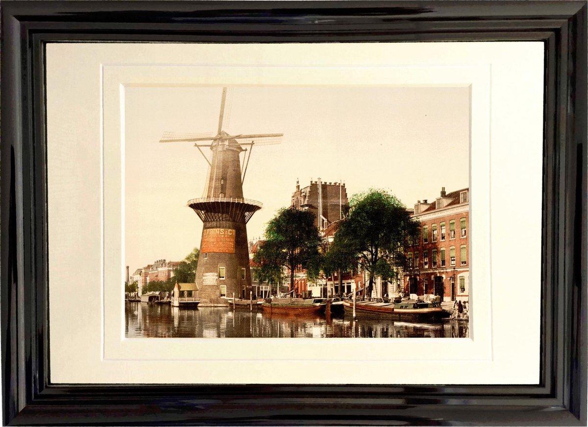Oud Stadsgezicht Rotterdam - Molen aan de Coolsingel - Foto Print Wanddecoratie Lijst - 30x20 cm