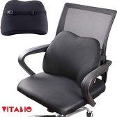 VITAMO™  Premium Ergonomische Rugsteun - Autostoel & bureaustoel - Rugkussen onderrug - Lendensteun - Rugsupport - Traagschuim kussen - Pijnverlichting - Zwart