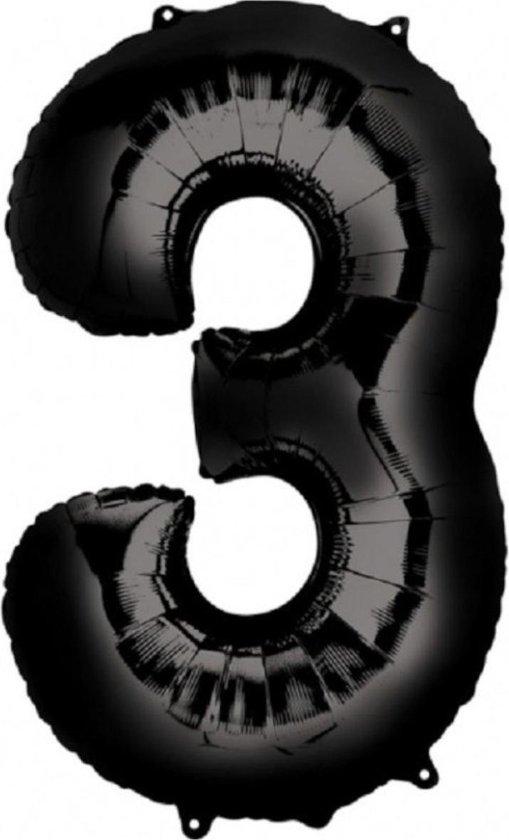 Ballon Cijfer 3 Jaar Zwart Verjaardag Versiering Zwarten Helium Ballonnen Feest Versiering 86 Cm XL Formaat Met Rietje