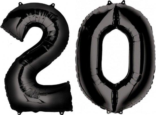 Ballon Cijfer 20 Jaar Zwart Verjaardag Versiering Zwarten Helium Ballonnen Feest Versiering 86 Cm XL Formaat Met Rietje