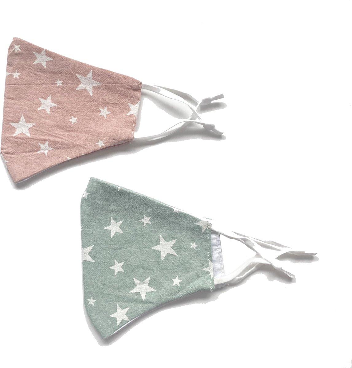 Mondkapjes - mondkapjes sterren - mondkapje sterrenprint - roze mondkapje - mondkapjes set - kerst mondkapjes --2 stuks mondkapjes - blauw mondkapje - gekleurd mondkapje - wasbaar mondkapje - verstelbaar mondkapje