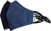 Herbruikbare mondmaskers/ mondkapjes hoogstaand merk Tilley, 2-pak, donkerblauw/motief