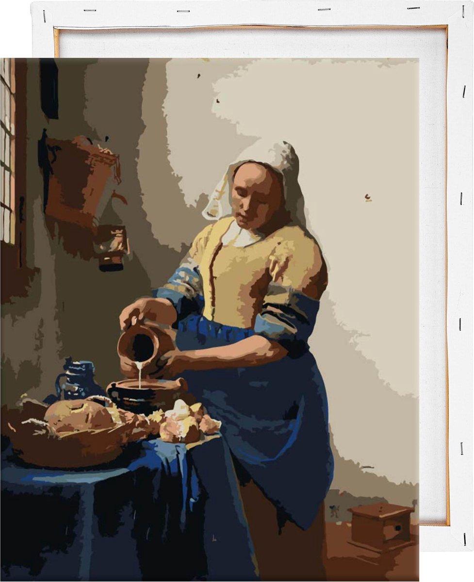 Schilderen Op Nummer Volwassenen - Het Melkmeisje - Met Frame - 40x50 cm