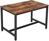 VASAGLE eettafel voor 4 personen, keukentafel, eettafel, 120 x 75 x 75 cm, salontafel, woonkamer, eetkamer, ijzeren frame, eenvoudige constructie, industrieel ontwerp, vintage, donkerbruin