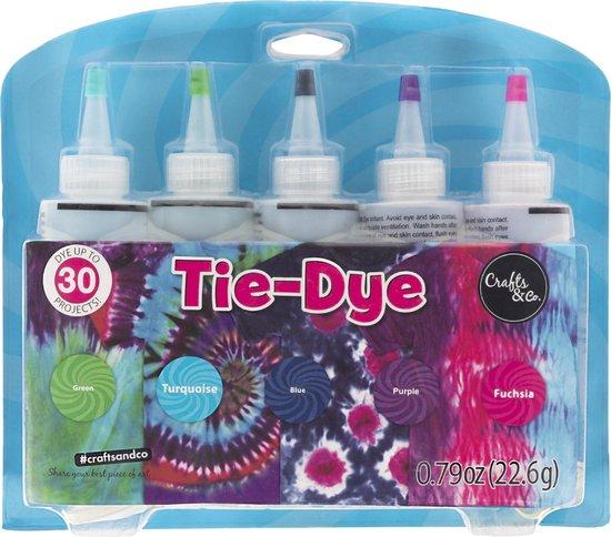 Crafts&Co Tie Dye Kit - Textielverf - 5 Knijpflesjes - Kleurenset Herfst