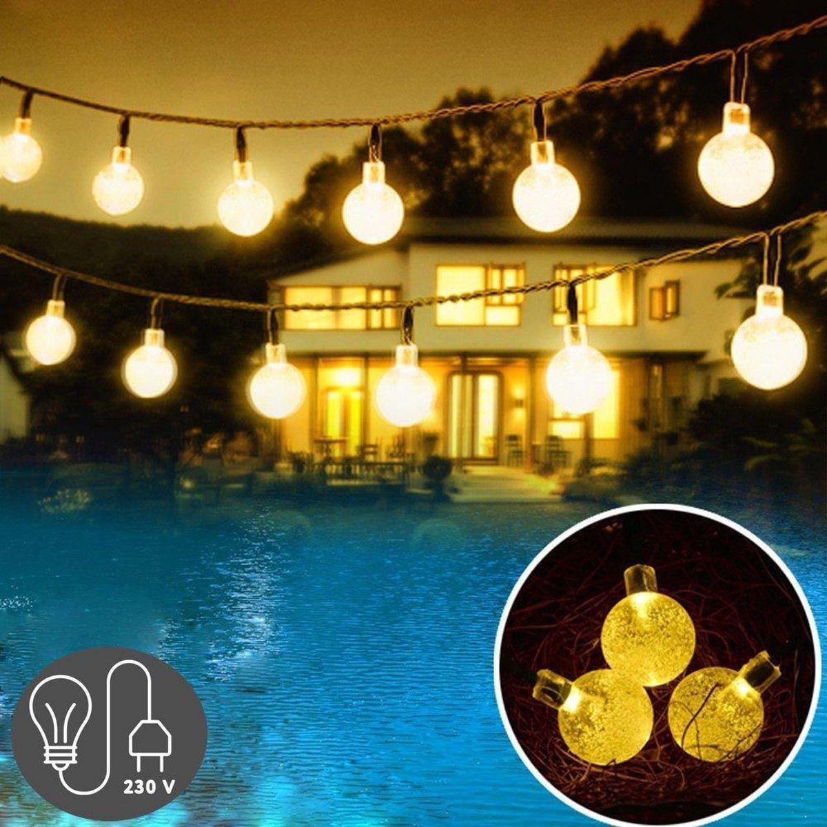 J-Pro Tuinverlichting - 100 Cristal Warm LED 17m - Lichtsnoer - Buiten Lichtslinger - Met Stekker