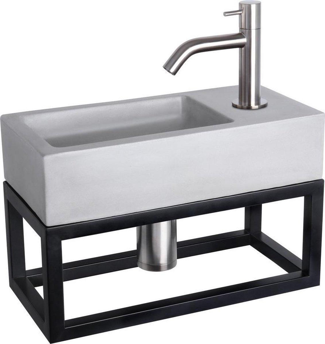 Differnz Ravo Fonteinset - Beton lichtgrijs - Kraan gebogen mat chroom - Met handdoekrek - 38.5 x 18.5 x 9 cm