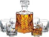 Franklin Mooreman 7-delige Whiskey set - Inclusief 1 decanteer whiskey karaf en 6 whiskey glazen - Whiskey decanter - Whisky set met karaf en glazen als whisky cadeau - Whiskey gift set - Set wiskey karaf met glazen - Wisky - Kerstcadeau heren