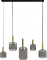 LEKAR Hanglamp 5L 100x22x32 cm antiek brons+smoke glas