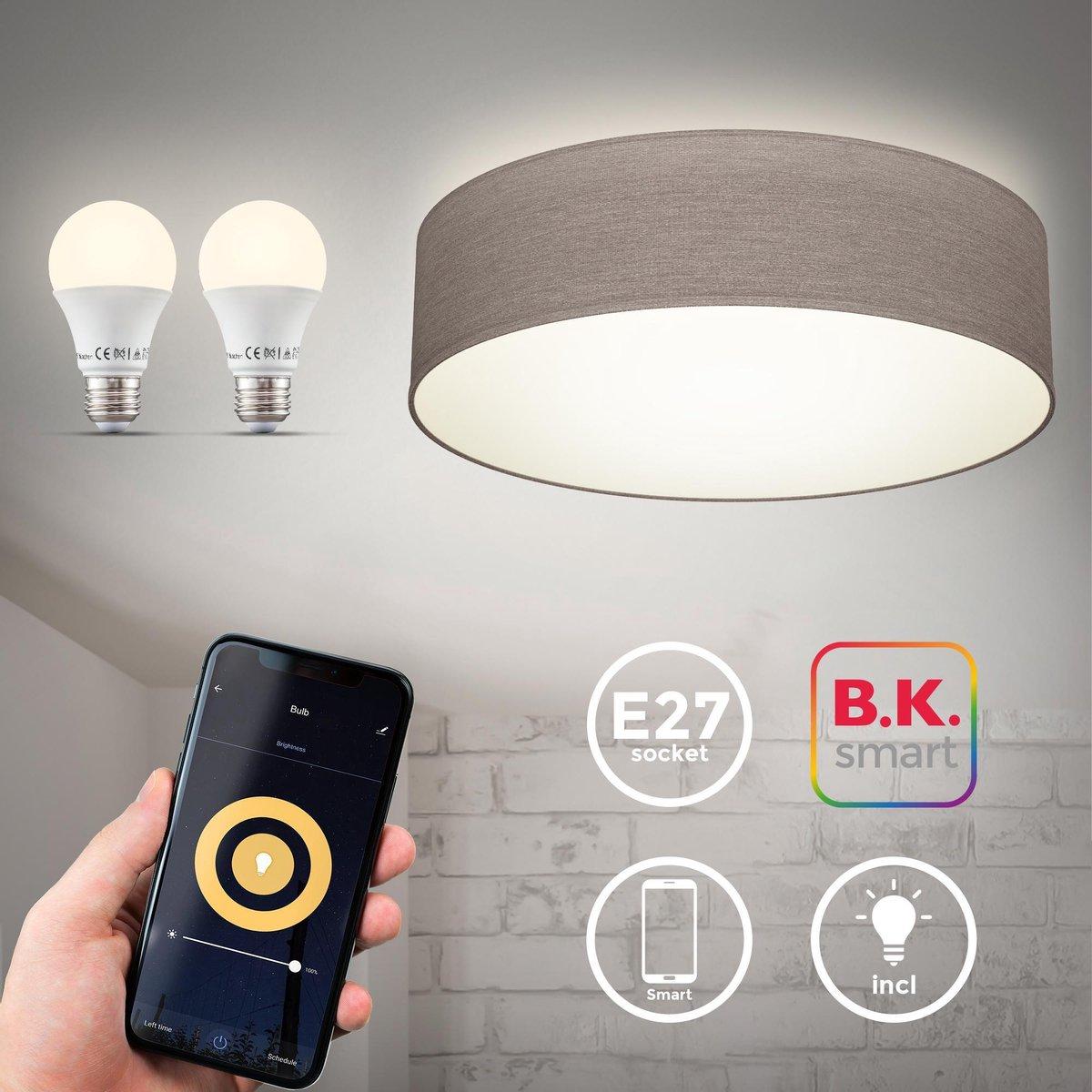 B.K.Licht - Plafondlamp smart - plafonnière - slaapkamer - woonkamer - taupe - Ø380mm - incl. 2x E27 smart lamp