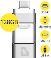 USB Stick 128GB - Flashdrive voor iPhone / iOS / Android / Windows 128GB - Flash Drive 4 In 1 - T05
