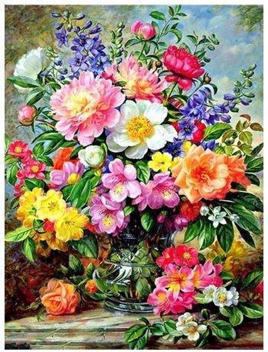 Diamond Painting 30 x 20 cm -bloemen TA8546 - vierkante steentjes pakket volledig - volwassenen - hobby creatief