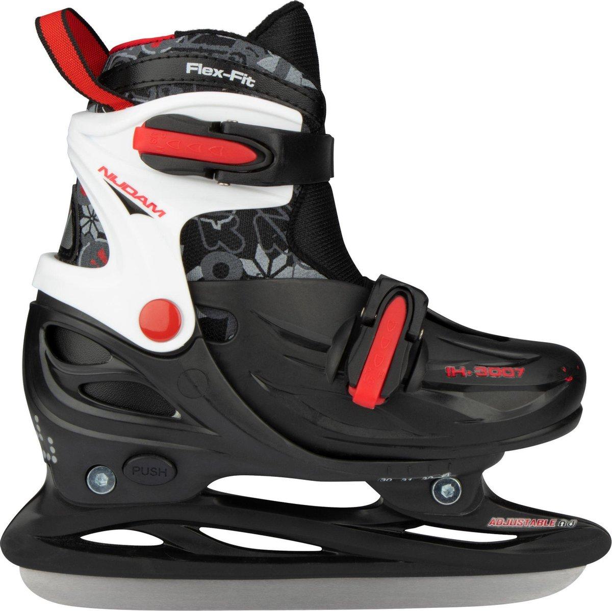 Nijdam IJshockeyschaats Junior Verstelbaar - Hardboot - Zwart/Zilver/Rood - 34-37