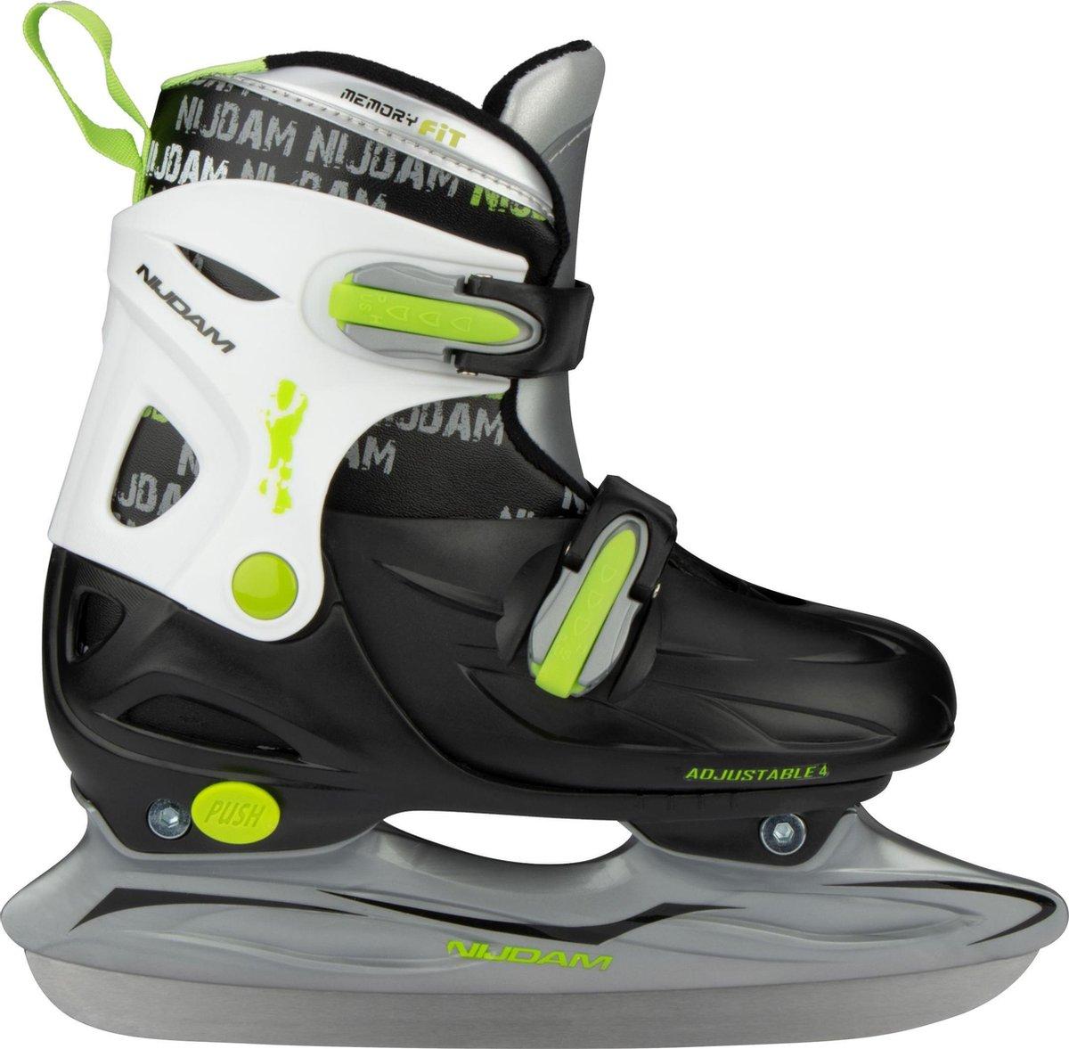 Nijdam Junior IJshockeyschaats - Verstelbaar - Hardboot - Zwart/Wit/Groen - Maat 34-37